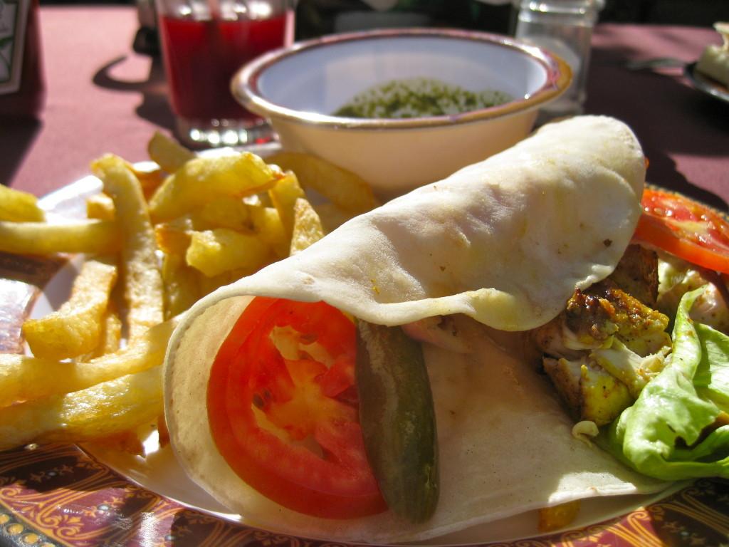 Kebab sandwich at Flower St Cafe